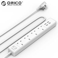 ORICO OSC 4A4U 5V4.0A20W 4 USB Ports 4 AC Outlets Surge Protection Intelligent Power Strip White UK Plug Extension Socket