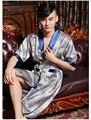Largo de Satén túnica masculina bata de seda del faux dormir y descansar para hombre hombres hombres batas camisón robe chino sleelwear pijamas