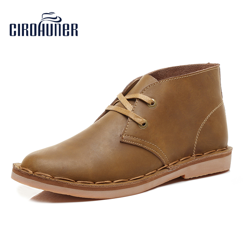 CIROHUNER Men Boots Chukka boot Laces Leather Fashion Casual Work Loafers Booties Low Heel Formal Men's sneakers Shoes