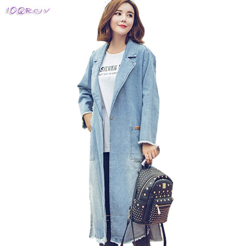 new spring autumn 2018 denim female   trench   coat women elegant Casual women coat loose long coats windbreaker tops IOQRCJV T204