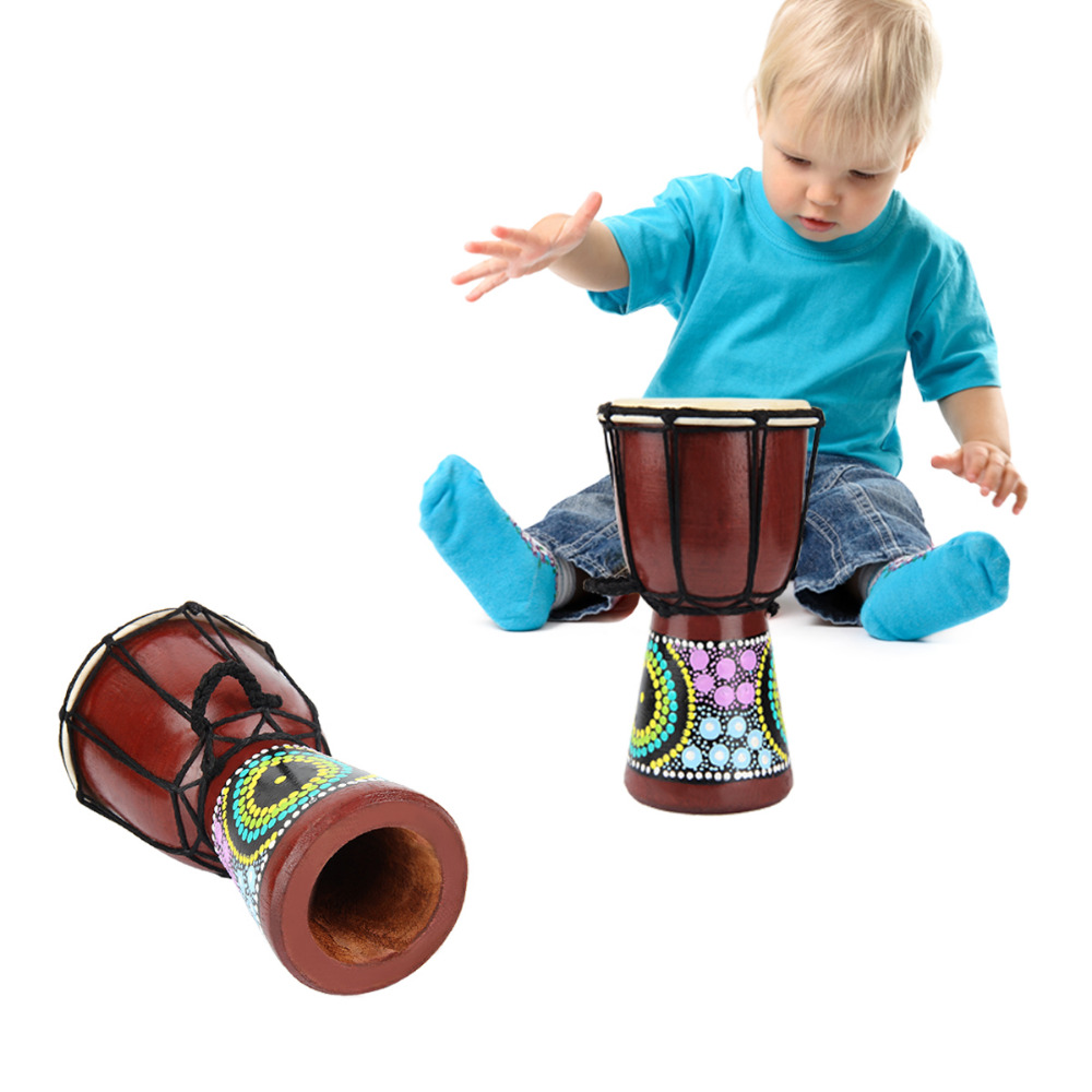Children Drummer Percussion 6 inch African Wooden Drum Djembe children Toy Drum Toy Musical Instrument