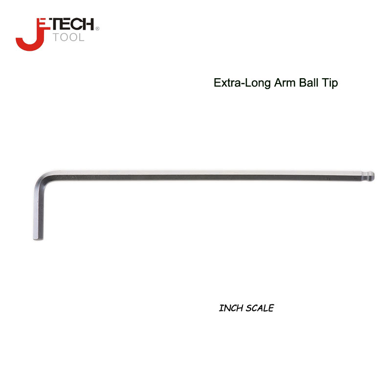 Jetech 1-delige extra lange inbussleutel 1/16 5/64 3/32 1/8 5/32 3/16 1/4 5/16 3/8 kogelkop inbusschroevendraaier Engelse inbussleutels sleutel inch
