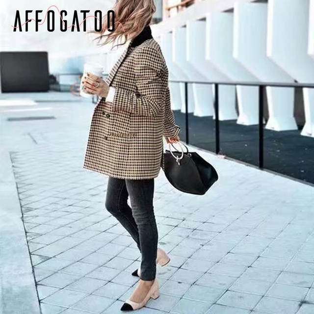 Affogatoo Fashion double breasted plaid blazer women Long sleeve slim OL blazer 2018 Casual autumn jacket blazer female 5