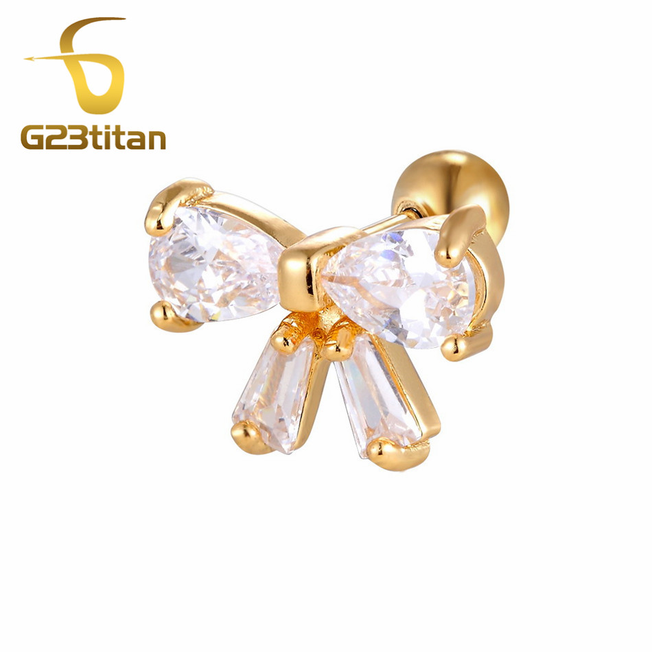 Gold Color Crystal Ear Tragus Earring 16G 6mm Surgical Steel Labret Studs Pinna Lobe Tragus Helix Ear Piercing Body Jewelry in Body Jewelry from Jewelry Accessories