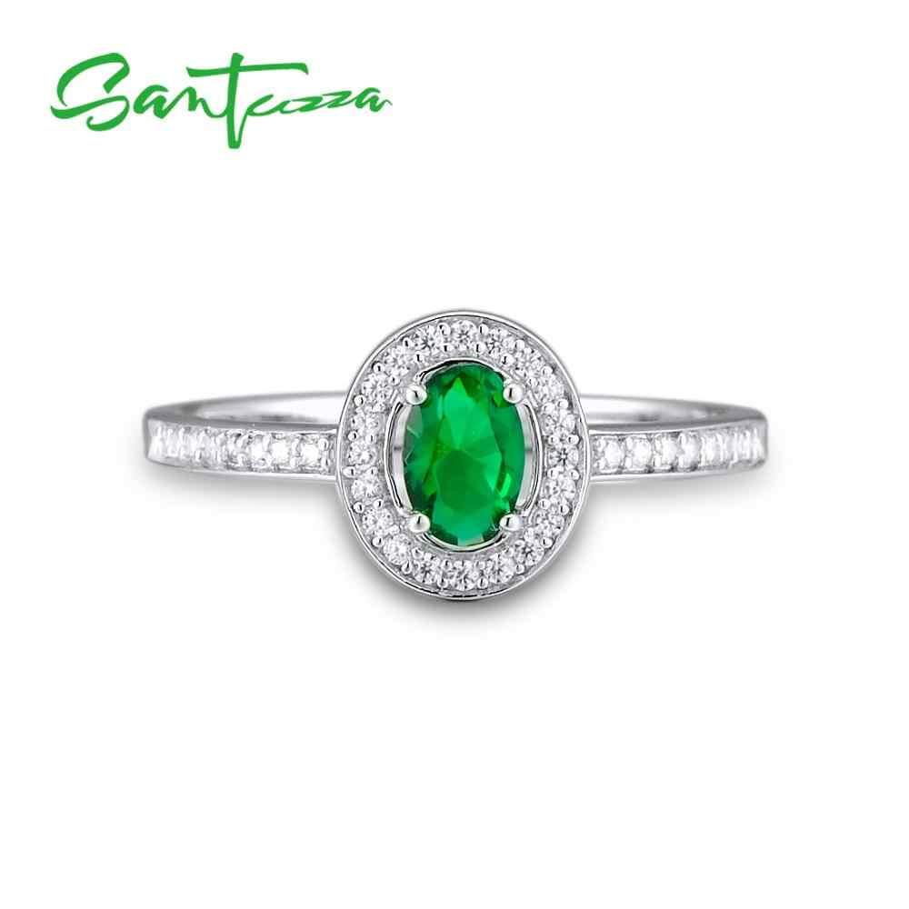 SANTUZZA ชุดเครื่องประดับสำหรับเจ้าสาวสีเขียวหิน CZ ชุดเครื่องประดับต่างหูแหวน 925 เงินสเตอร์ลิงแฟชั่นชุดเครื่องประดับ