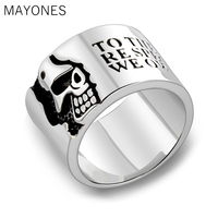 MAYONES Real Sterling Silver 925 Mens Wide Skull Ring With Words Vintage Punk Style Male Thailand Rings Jewelry anelli uomo