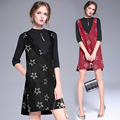 2017 Fashion Spring Women dresses sets Gentlewoman Solid knitwear sweater+Embroidery star deep V neck Elegant dress suit 6208