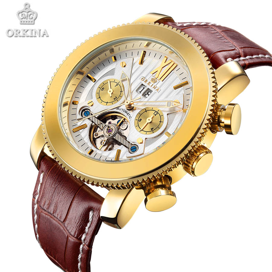 Orkina Luxury Brand Wrist Watch Sport Men Genuine Leather Tourbillion Mechanical Watches Cool Dress Watch Gift for Male(+BOX) orkina gold watch 2016 new elegant armbanduhr herrenuhr quarzuhr uhr cool horloges mannen gift box wrist watches for men