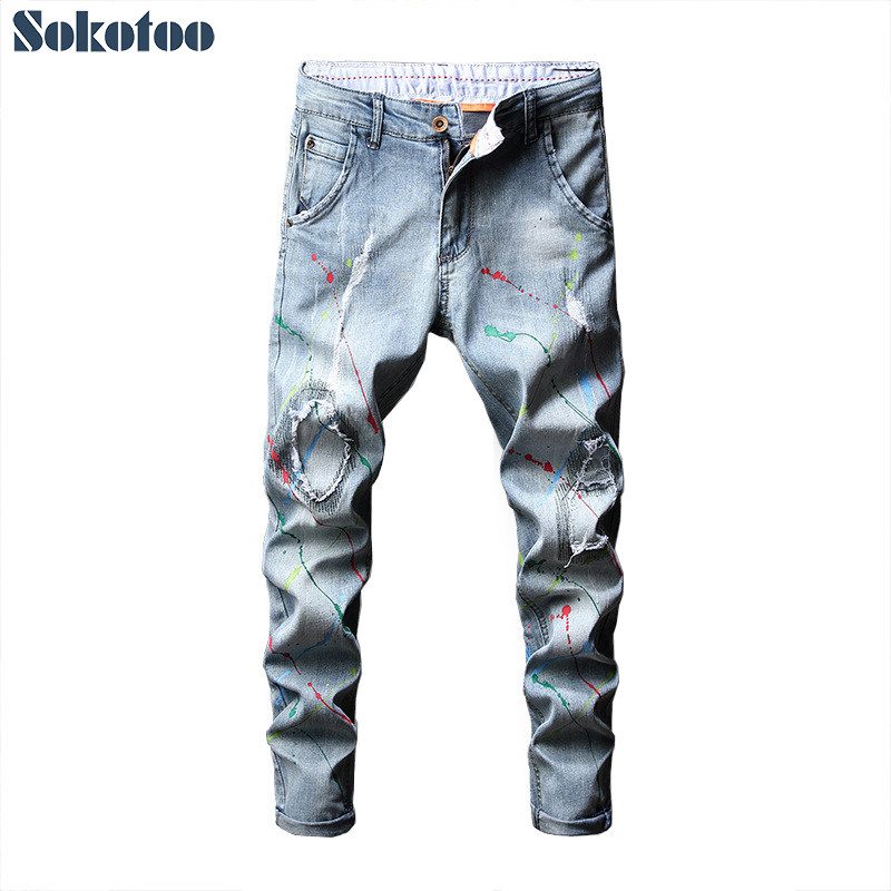 Men's Light Blue Painted Patchwork Ripped Jeans Fashion Slim Skinny Stretch Denim Pants