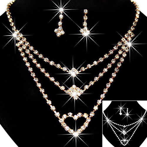 Fashion Women's Wedding Bride Love Heart Multilayer Necklace Earrings Jewelry Set Gift  A8B3