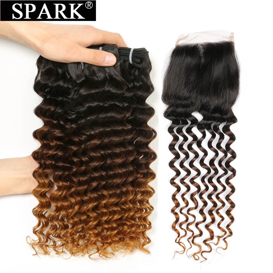 Ombre Malaysian Deep Curly Hair Bundles with Lace Closure Spark Remy Human Hair Weaving 3/4 Bundles with Closure Color 1B/4/30