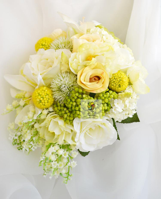 Handmade Bridal Bridesmaid Wedding Bouquet Yellow White Color ...