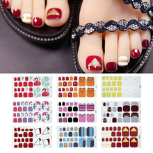 Toe Nail Art Sticker Waterproof Full Cover Yellow Blue Pink Beauty Colors Nail Sticker Wraps Nail DIY Design Decorations Tips(China)