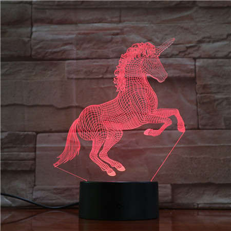 Unicorn Horse 7 Colors 3D LED  Lamp Lights Creative Gift USB Touch 3D Table Lamp As Kid Room Sleeping LED Decor