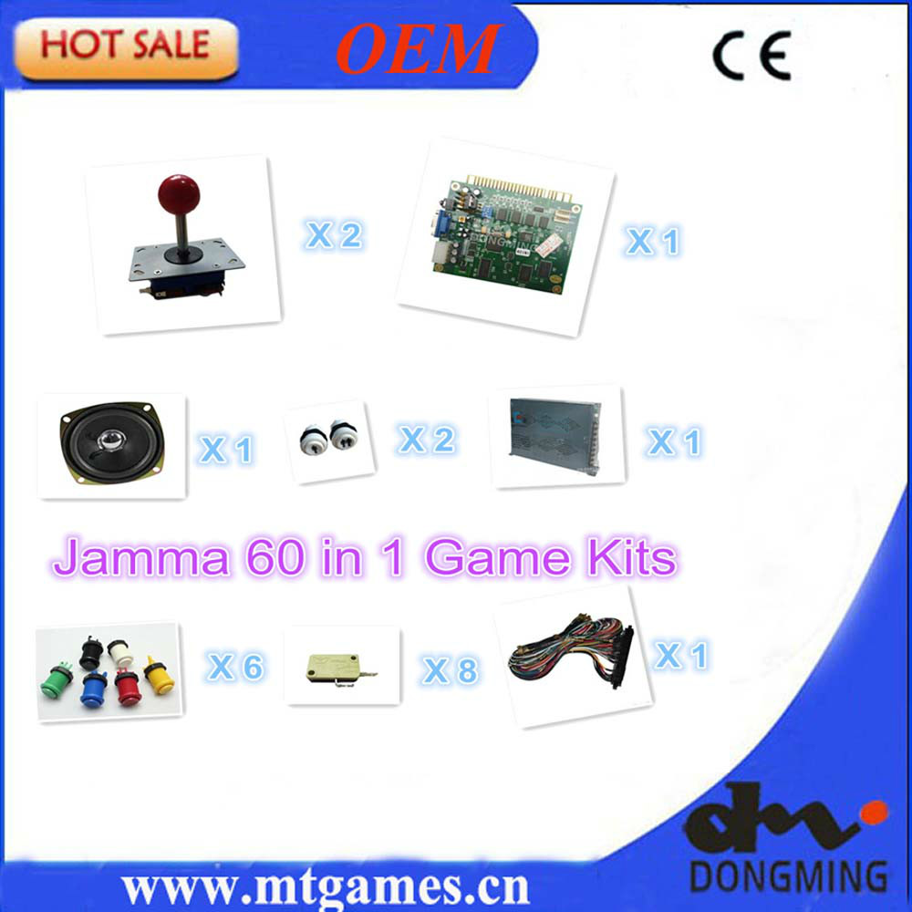 ФОТО Jamma arcade game kits including jamma 60 in 1 ,arcade joystick,arcade button,power supper,jamma cable wire and speaker for DIY