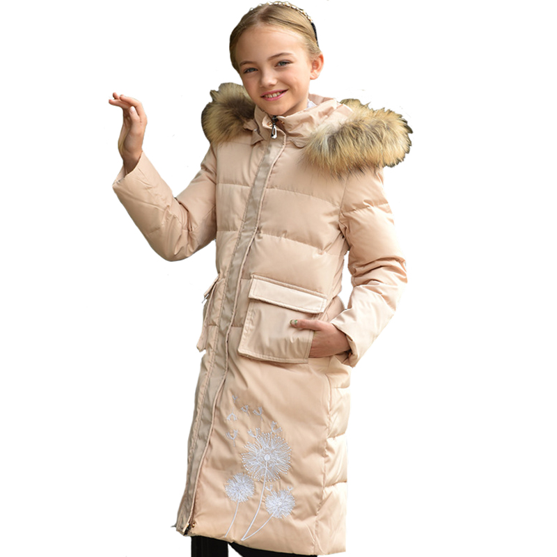 Girls Coat Winter Children Parkas Kids Long Sleeve Hooded Thicker Embroidery Zipper Warm Clothing High Quality for 8y-14y shein faux fur trim hood embroidery applique coat casual women winter coats navy long sleeve zipper hooded coat