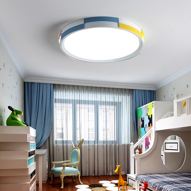 Dx Modern Led Ceiling Light Round Lighting Fixture Lamp Remote Control Kids Room Lights Macaron Pulley Luminaire Dimmable Er In