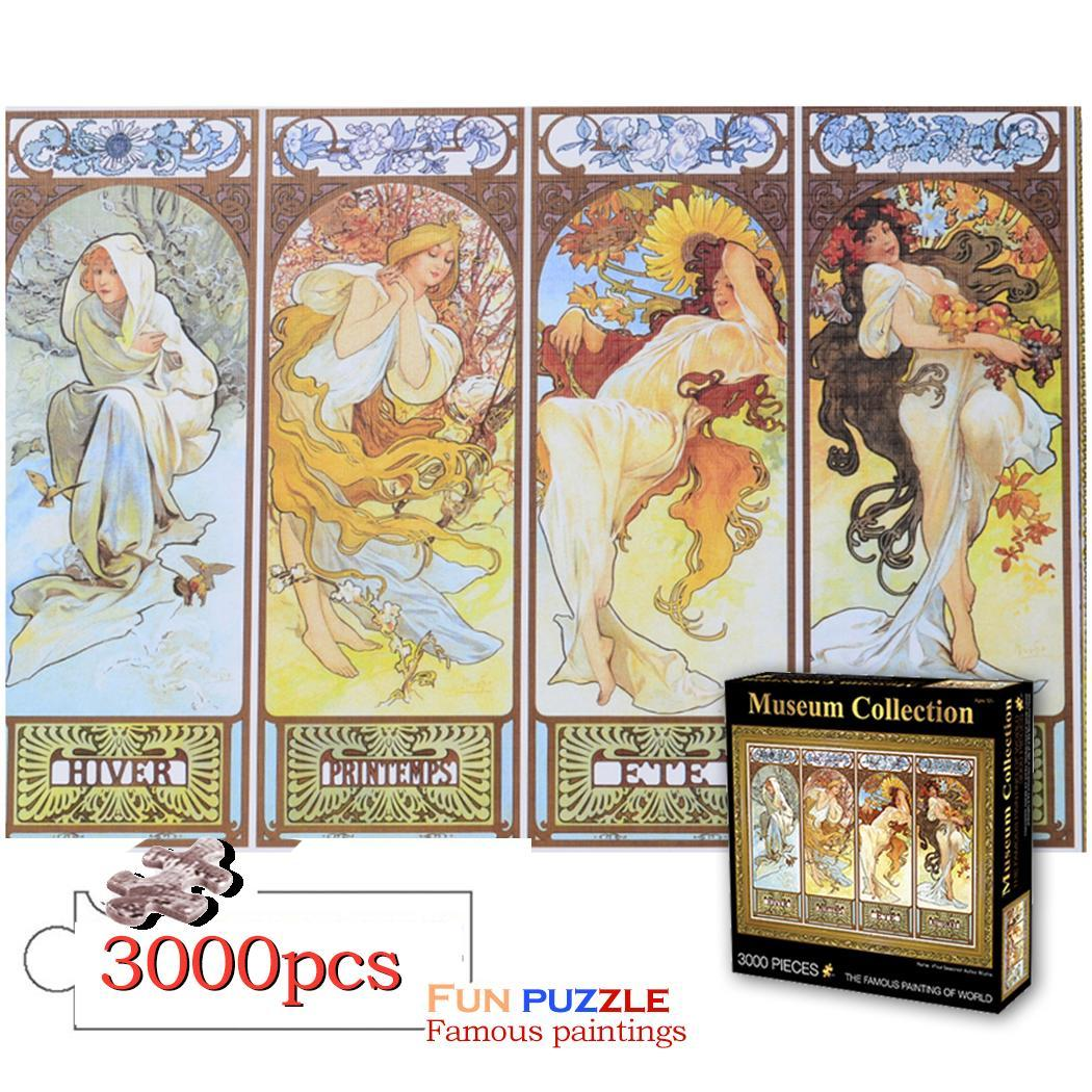 3000 pièces puzzle mondialement célèbre peinture à l'huile ciel étoilé quatre saisons pour adultes enfants décor à la maison assemblage à collectionner