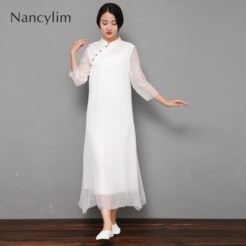 Printemps et été femmes porter Style chinois rétro robe dame thé robe fée filles Art robes lâche tenue pour maman Nancylim