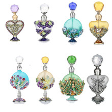H&D Antiqued Style Colorful Lampwork Glass Empty Perfume Container Home Wedding Decoration Refillable Perfume Bottle(15 Styles)(China)