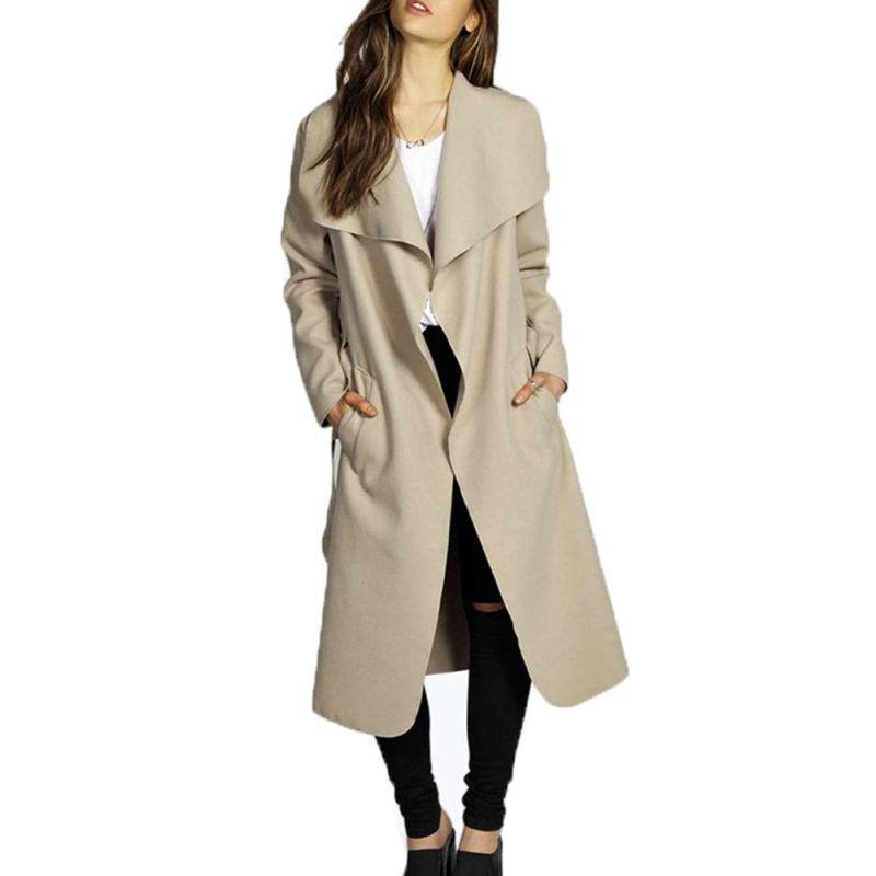 Plus Size Blue Khaki Red Black Coats for Ladies Fall Winter Coat Women Full Sleeve Tweed Slim Long Coat with Sashes H9