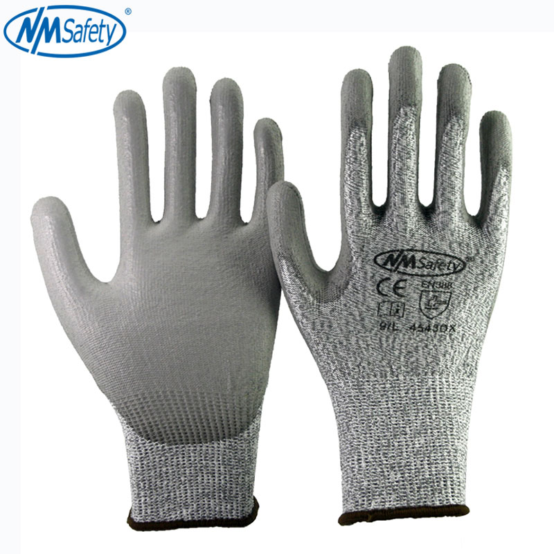 4 Pairs Cut Resistant Protective Work Gloves Of HPPE Fiber Cut Level 5 Liner Palm Dipping PU Safety Glove
