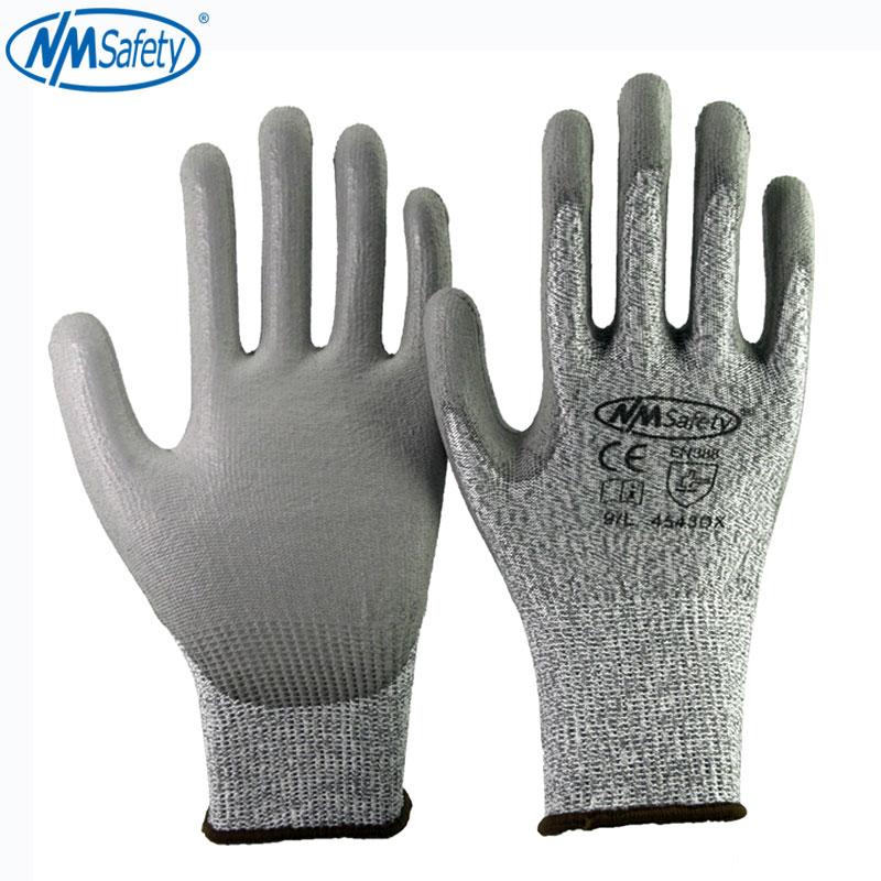4 paar snijbestendige beschermende werkhandschoenen van HPPE vezel gesneden niveau 5 voering Palm dompelen PU veiligheidshandschoen