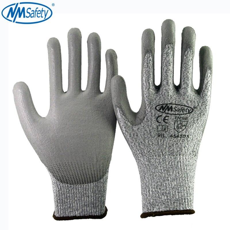 4 пары, защитные рабочие перчатки для защиты от порезов из волокнистого полипропилена с 5 вкладышами, защитные перчатки из ПУ