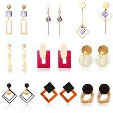 Korean Summer Blue Geometric Acrylic Irregular Hollow Circle Square Drop Earrings for Women Party Wedding Jewelry