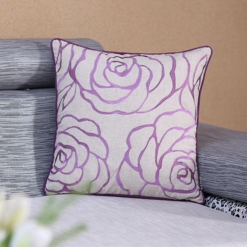 Throw Cushion Case Cotton Linen Embroidered Pillow