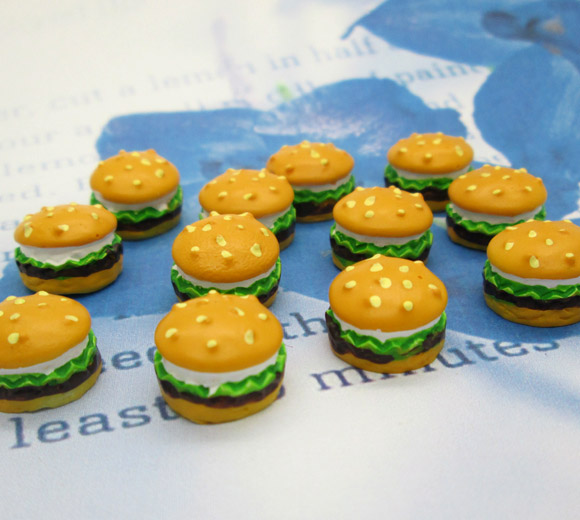 20Pcs Resin Hamburger Crafts Flatback Cabochon Scrapbooking Decorations Fit Hair Clips Embellishments Beads Diy