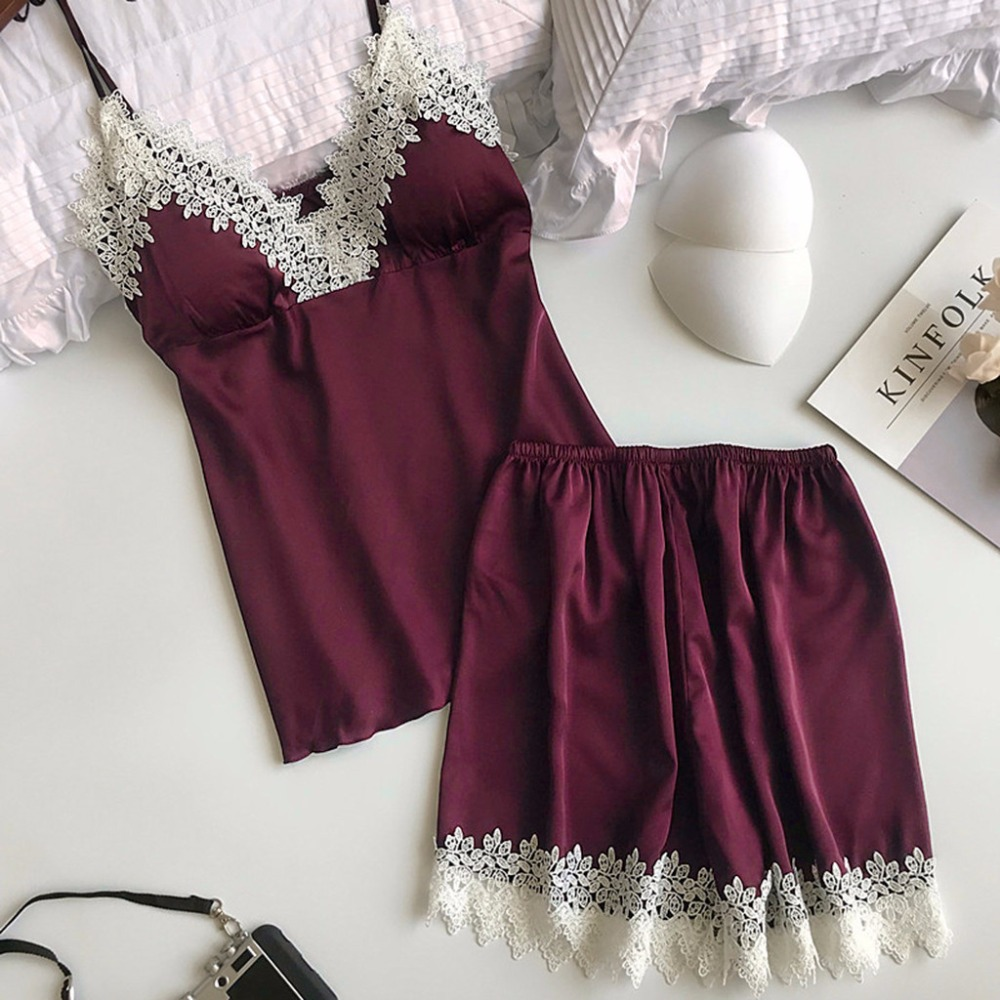 2019 Women Pajamas <font><b>Sexy</b></font> Lace Lingerie Nightwear Underwear <font><b>Babydoll</b></font> Short Sleepwear 2PC Set Women Clothes <font><b>pijama</b></font> mujer algodon image