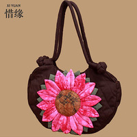 XIYUAN BRAND 6 Colors Ethnic Pure Handmade Textile Cloth Embroidered Handbags Vintage Women Large Shoulder Shopping