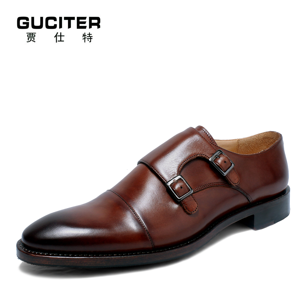 Guciter Free shipping Pure manual monks double hasp Goodyear craft  shoe leisure classic business mens leather shoes
