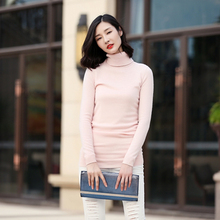 Free shipping turtleneck long sleeve 100% pure cashmere red long sweater for spring/autumn/winter