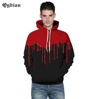 Qybian Red water droplets Splice Hoodie Sweatshirt Male Long Sleeve Outerwear Pullovers One Piece Jacket Men Women Plus for gift