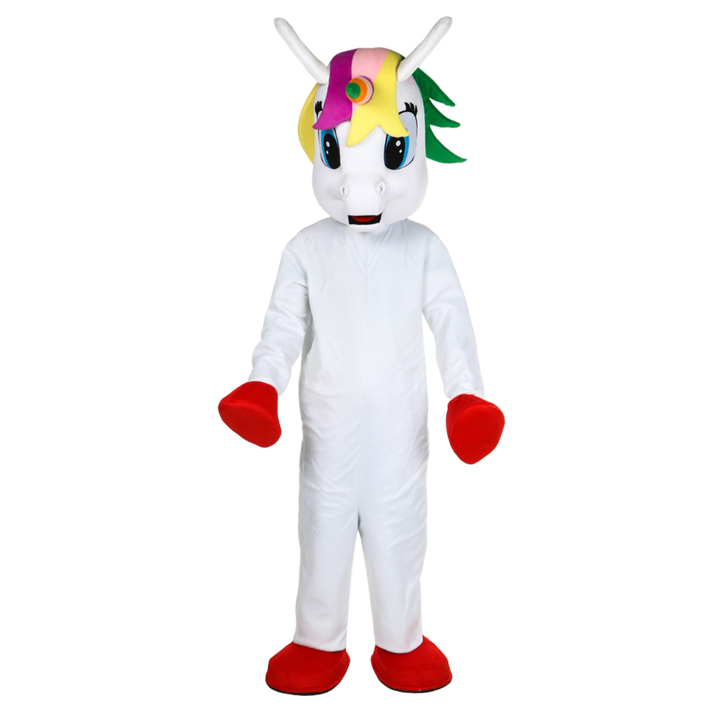 Unicorn mascot costume Flying Horse Mascot Costume Rainbow pony fancy dress costume for adult animal Halloween