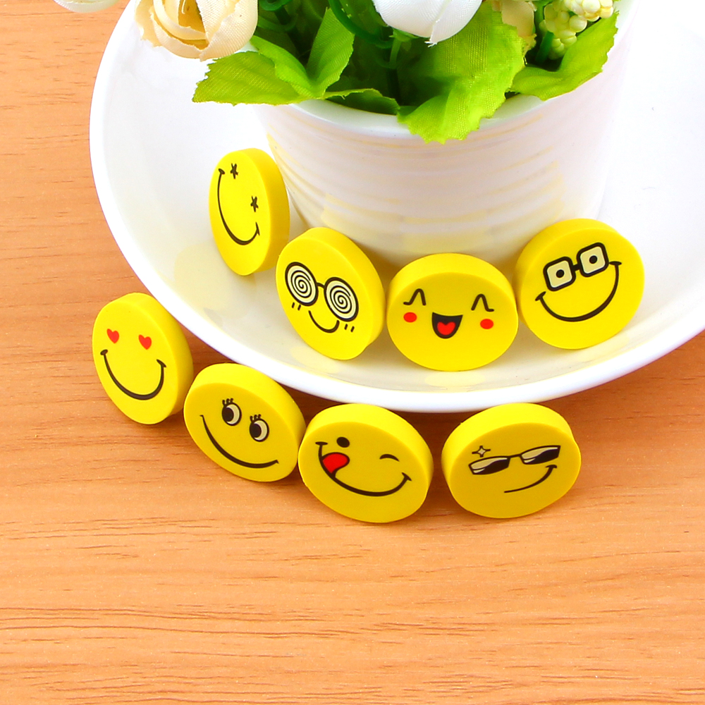 4Pcs/pack Smile Yellow Emoji Expression Cartoon Face Eraser Rubber Pencil Eraser Primary Student Prizes Gift Stationery E2064