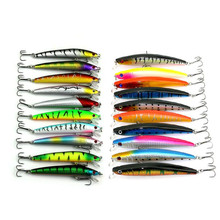 20 Pcs/pack Mixed 2 Style Fishing Lures Set Minnow Fishing Wobblers Artificial Lure Baits wtih VMC Treble Hooks Fishing Tackle