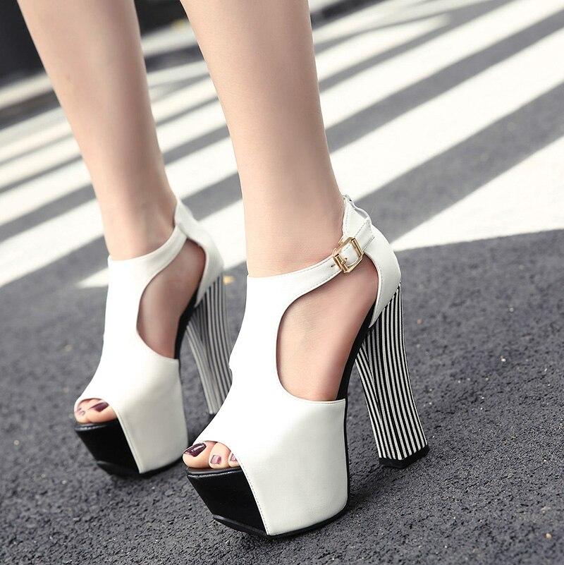 ФОТО 2017 Summer European Sexy Girl Black white PU leather buckles Platform High Heels Women Sandals Peep Toe Woman Wedding Shoes