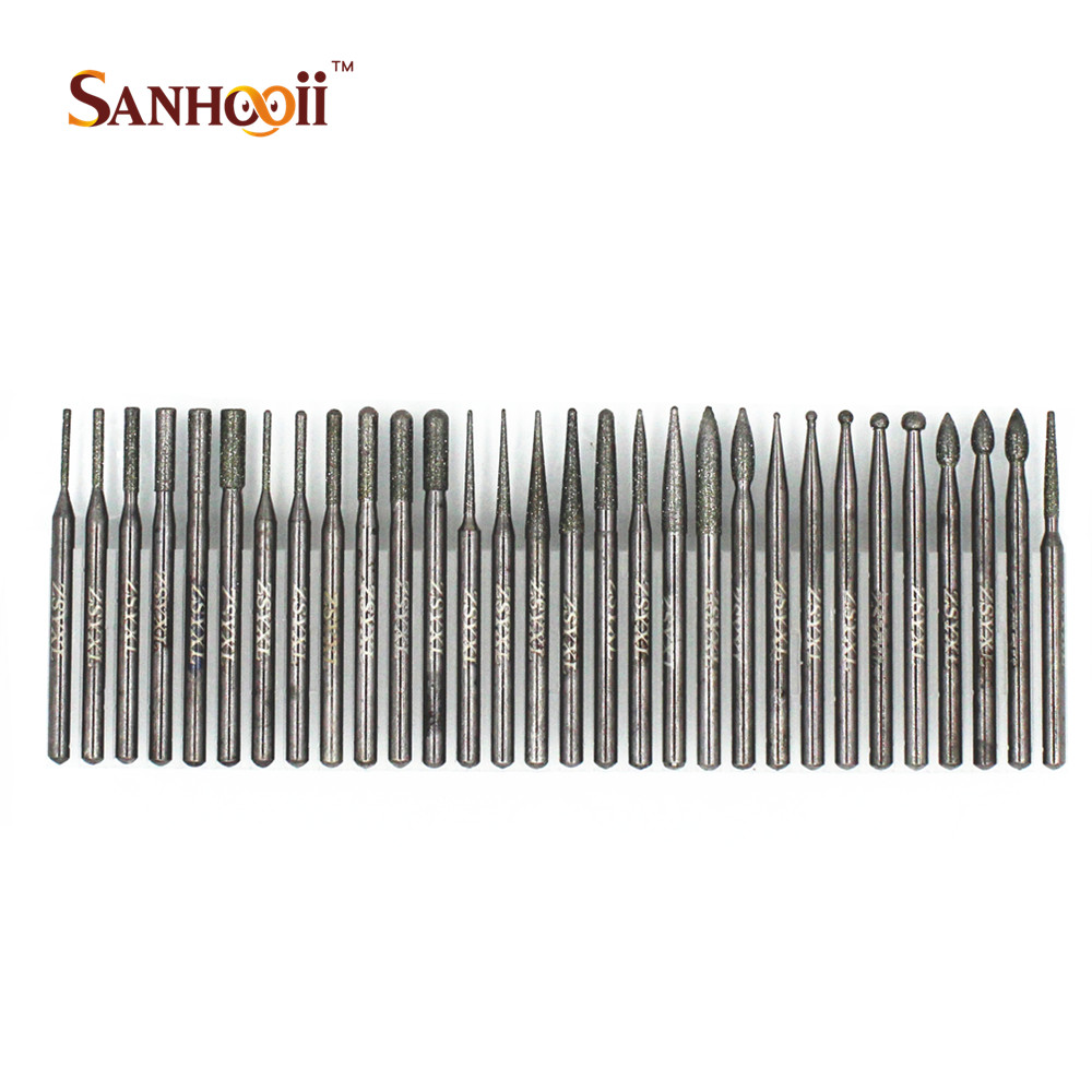 30PCS/Set Emery Coat Engraving Drill Bit Tools Set For Metal Jewellery Glass Carving Dremel Accessories