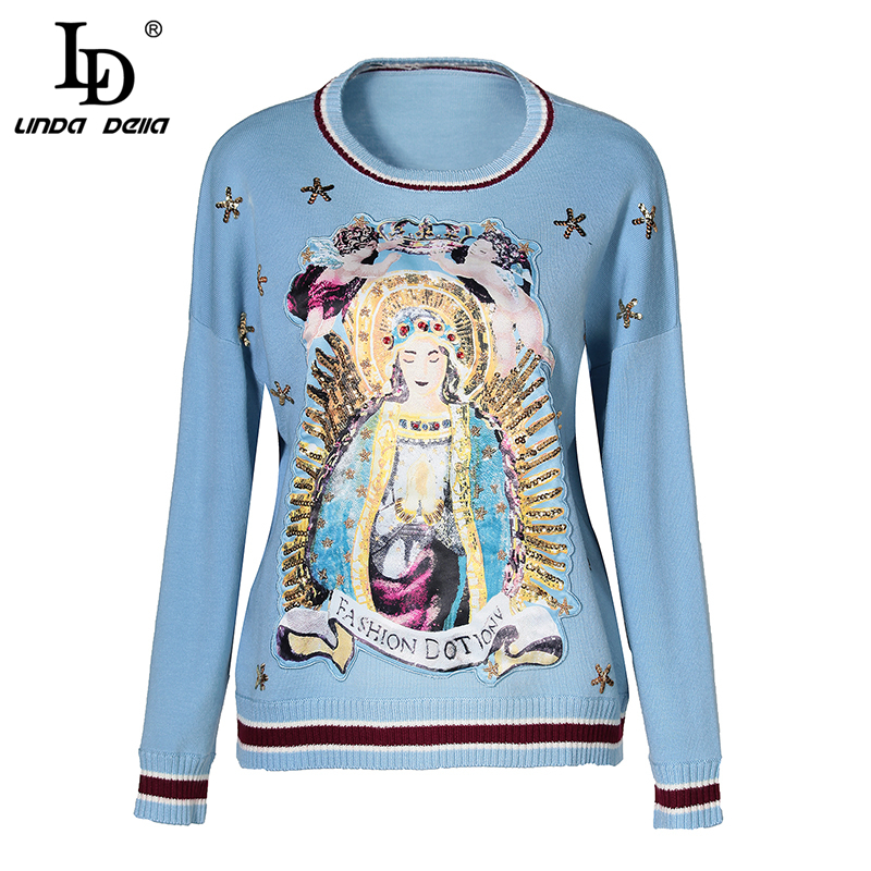LD LINDA DELLA Autumn Winter Knitted Sweater Women s Long Sleeve Casual Sweater Pullovers Female Top