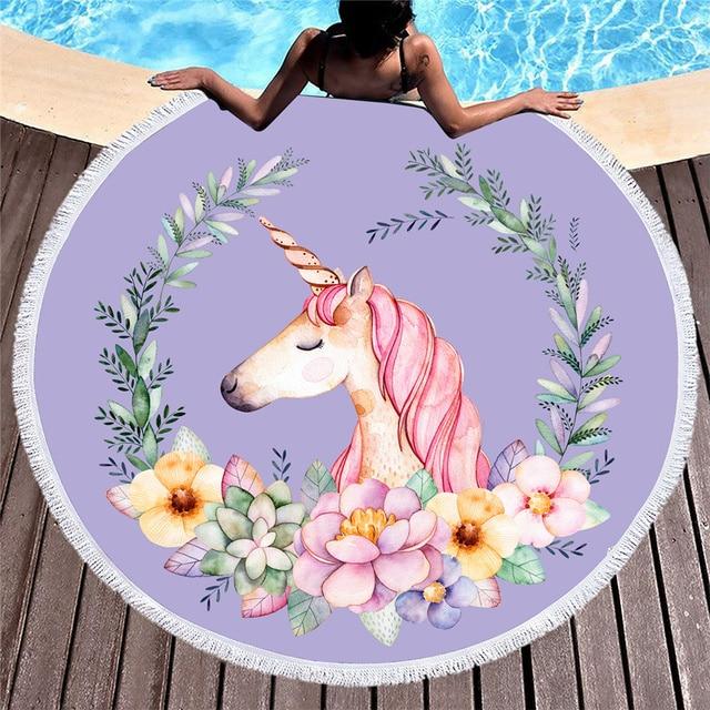Blanket Newest Style Fashion Unicorn Wolf Skull Butterfly Shark Round Beach Towel With Tassels Microfiber 150cm Picnic Blanket