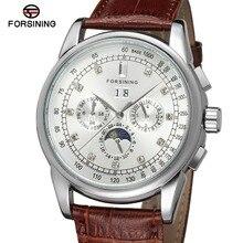 FSG319M3S3 Новое прибытие Автоматическая мужская мода moon phase часы черный кожаный ремешок бесплатная доставка с подарочной коробке