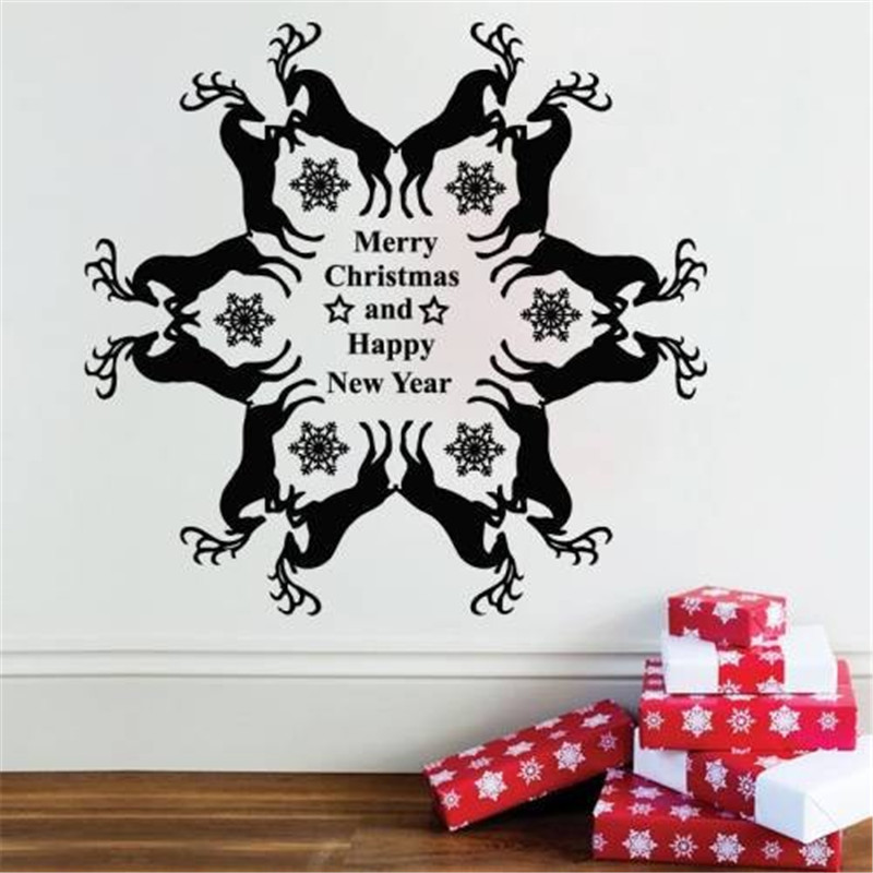 Special Designed Christmas Wall Decals Pairs Of Reindeers With Happy New Year Quotes Warm Wall Stikcer Home Holiday Decor