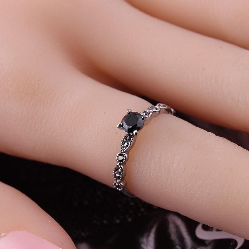 Luksuslik must kristall rõngad Vintage antiik hõbedane sõrmega - Mood ehteid - Foto 2