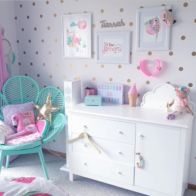 Gold Polka Dots Kids Room Baby Room Wall Stickers Children Home Decor  Nursery Wall Decals Wall Stickers For Kids Room Wallpaper
