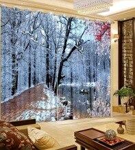 2017D6 Modern Bedroom Curtains 3D Photo snow landscape Curtains 3D living room Curtains Beautiful Kids Room CuRTAINS
