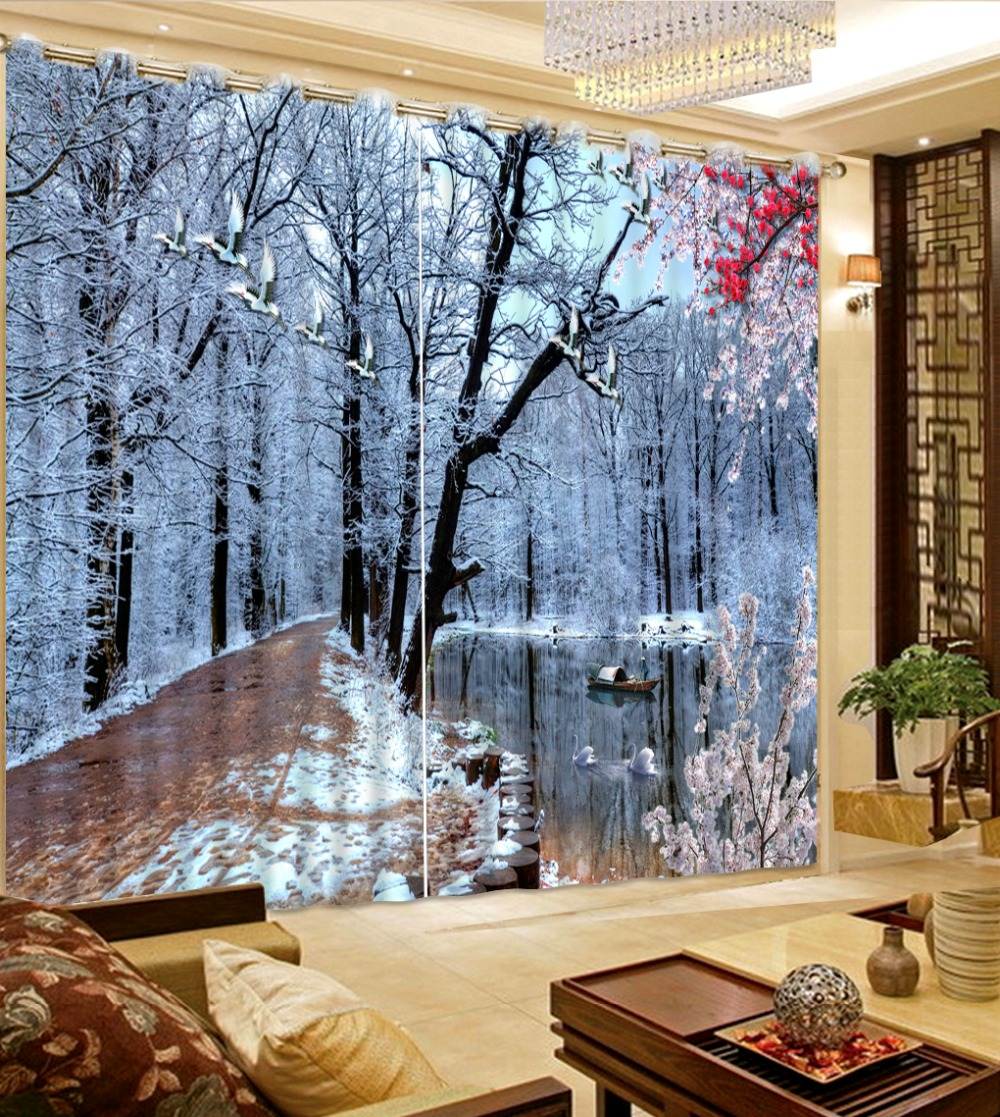 Kids modern bedroom curtains - 2017d6 Modern Bedroom Curtains 3d Photo Snow Landscape Curtains 3d Living Room Curtains Beautiful Kids Room