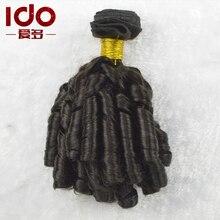 3 Pcs/lot 8A Brazilian Aunty Funmi Hair Extension 8-30″ Spiral Curl Cheap Human Hair Weave Natural Black Bouncy Curl Funmi Hair